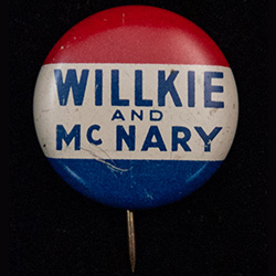 Red, white and blue button. text: Willkie & McNary