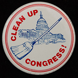 Clean Up Congress! with image of broom and capitol