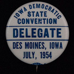 White with blue text, IA Democratic Convention