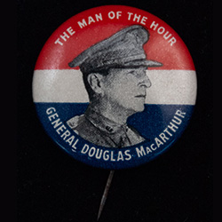 Red, white, and blue, image of Gen. MacArthur