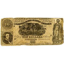 Confederate currency, $10 Virginia