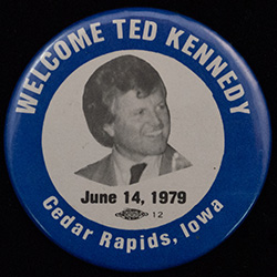 Blue with white text, photo of Ted Kennedy