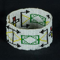 beaded bracelet, mainly white