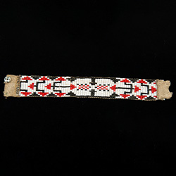 beaded bracelet backed with leather