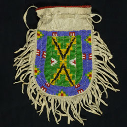 Leather pouch with beaded design and fringe