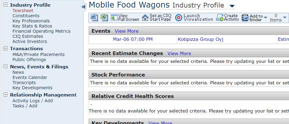 Industry Profile screen