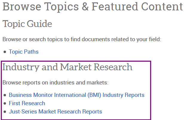 Industry and Market Research