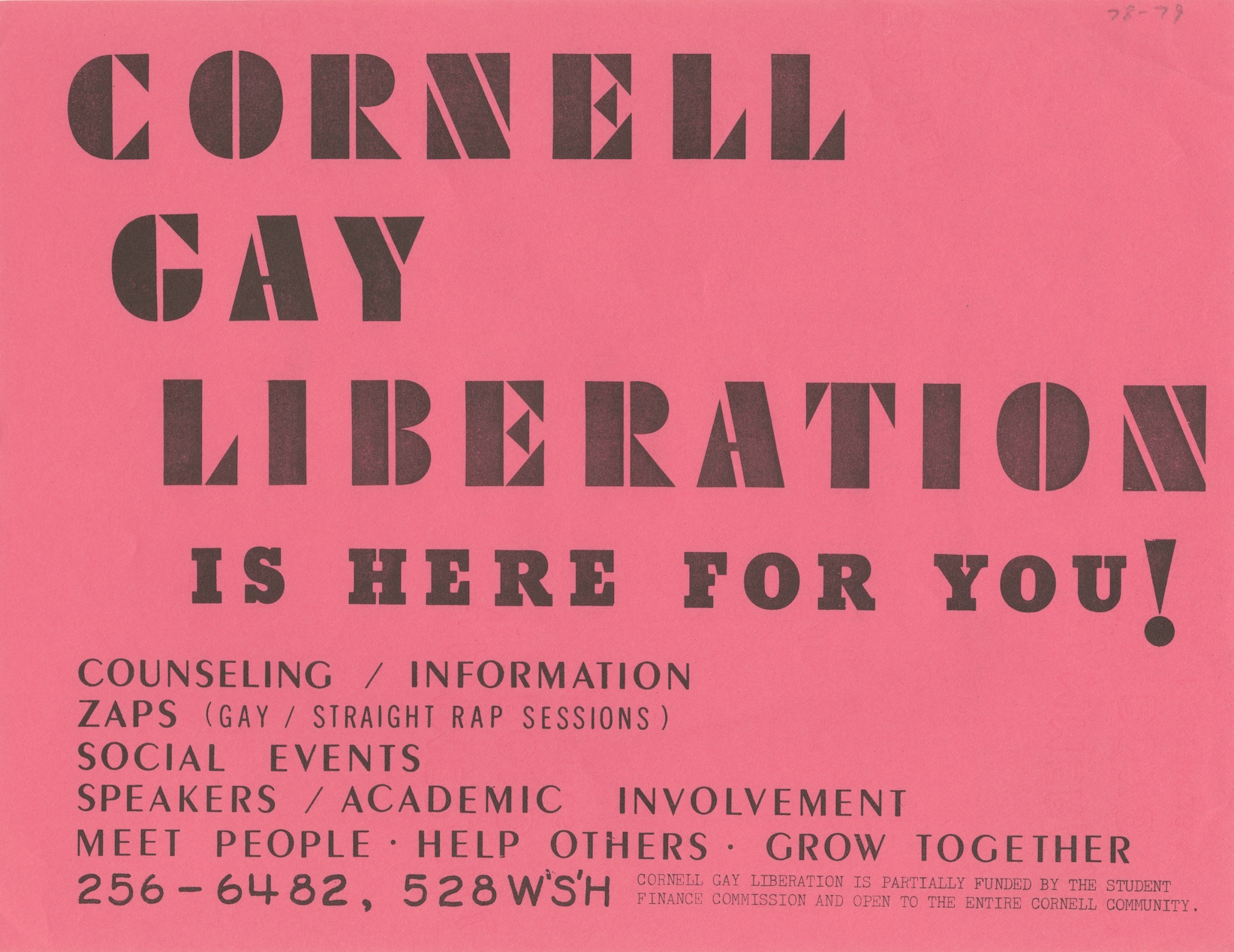 Cornell Gay Liberation is Here For You