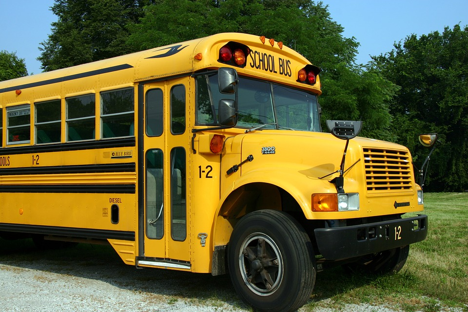 Cover Image of a school bus next to a grassy field