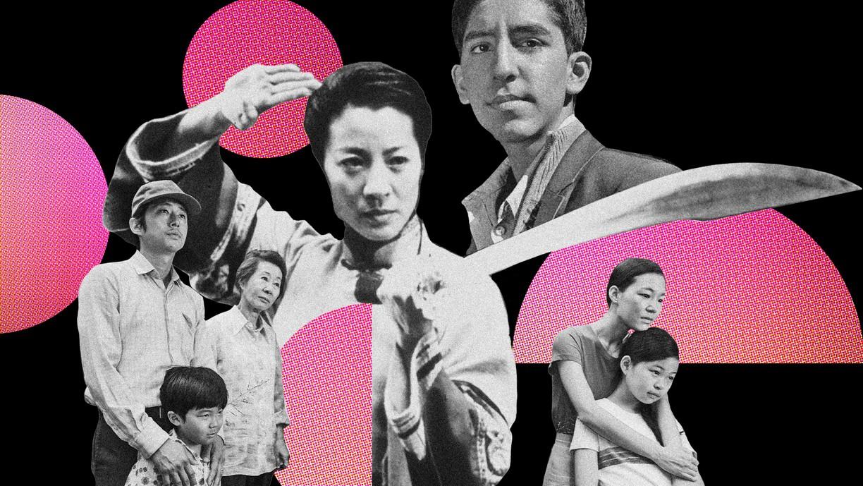Collage of Asian American film scenes