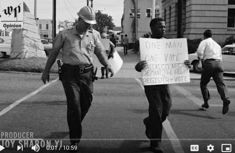 Image of policeman and Black man advocating for voting rights