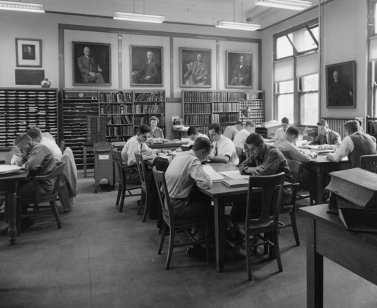 Library periodical room in James Law Hall, 1955