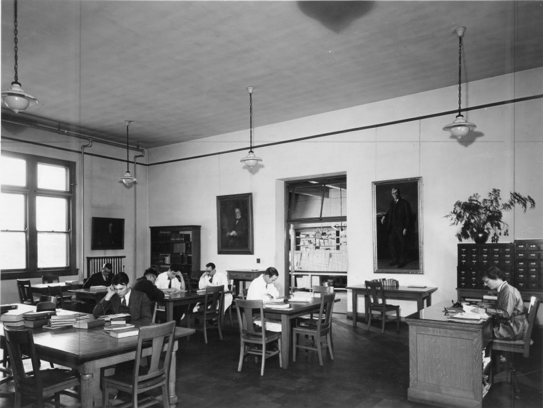 Library reading room in James Law Hall, c. 1923