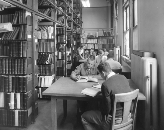 Library stacks in James Law Hall, 1955