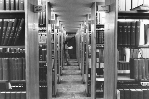 Library stacks in Schurman Hall, 1974