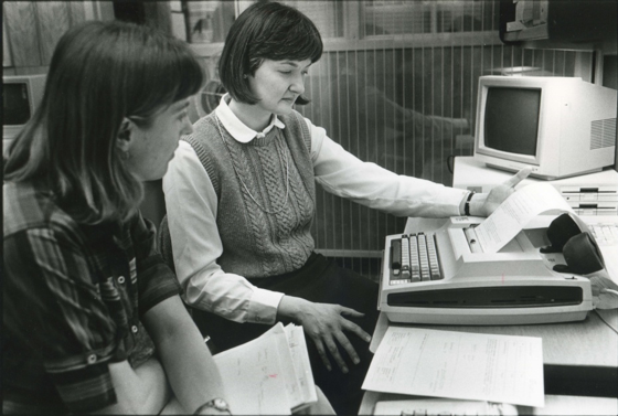 Librarian performing a mediated literature search, circa 1983