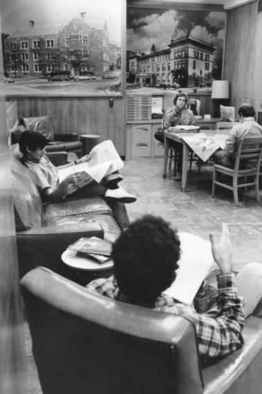 Library informal reading lounge in Schurman Hall, 1960
