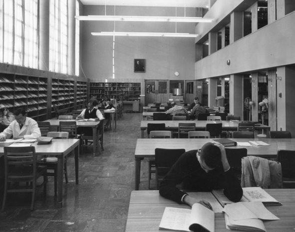 Library reading room in Schurman Hall, 1960