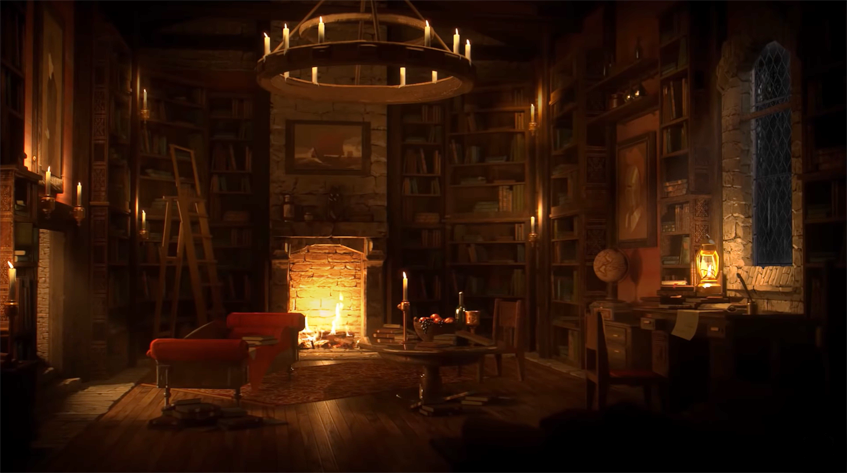 Ancient library at night with cracking fire in fireplace