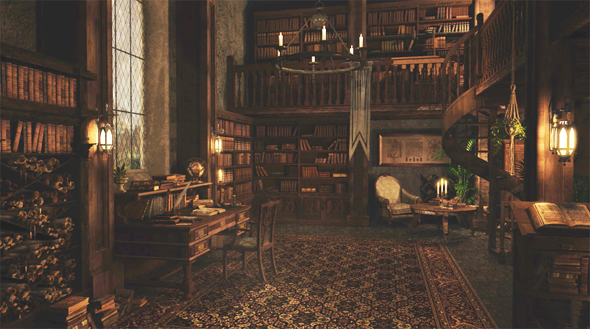 Ancient library in medieval mansion