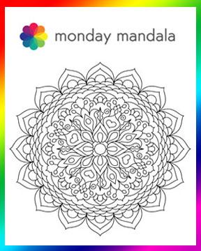Monday Mandala logo and example mandala