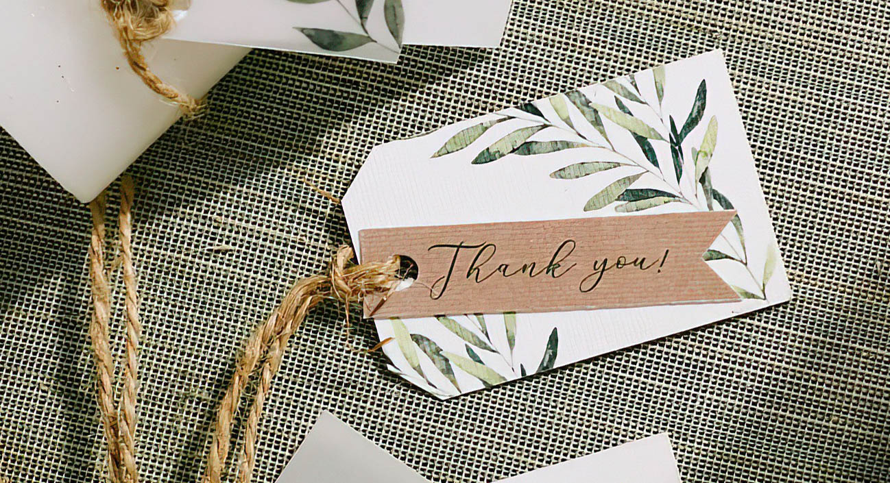 Thank you card tag