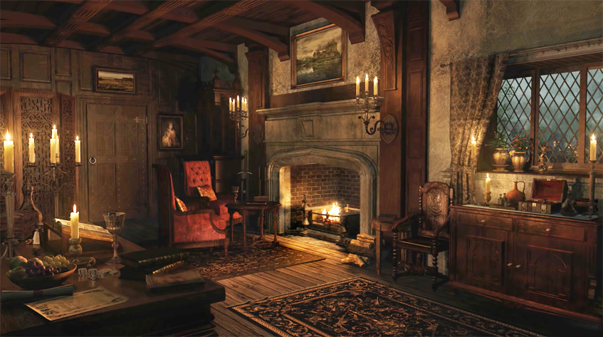 Ancient library with fireplace in medieval mansion