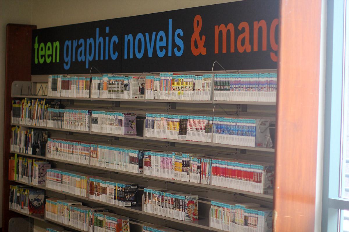 Manga aisle in a public liibrary