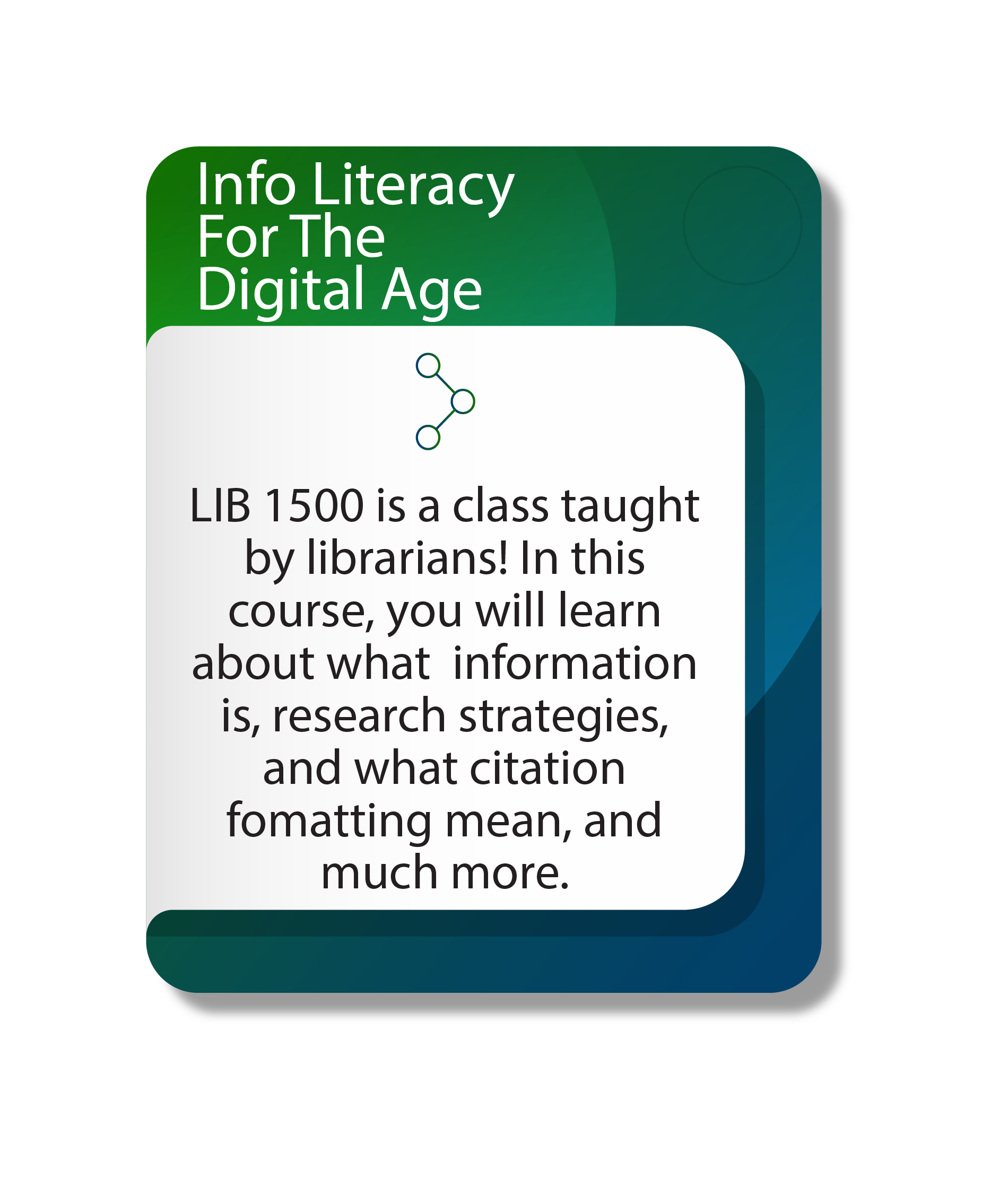 Information literacy for the digital age, lib 1500 is a class taught by librarians! In this course, you will learn about what information is, research strategies, and what citation formatting means, and much more
