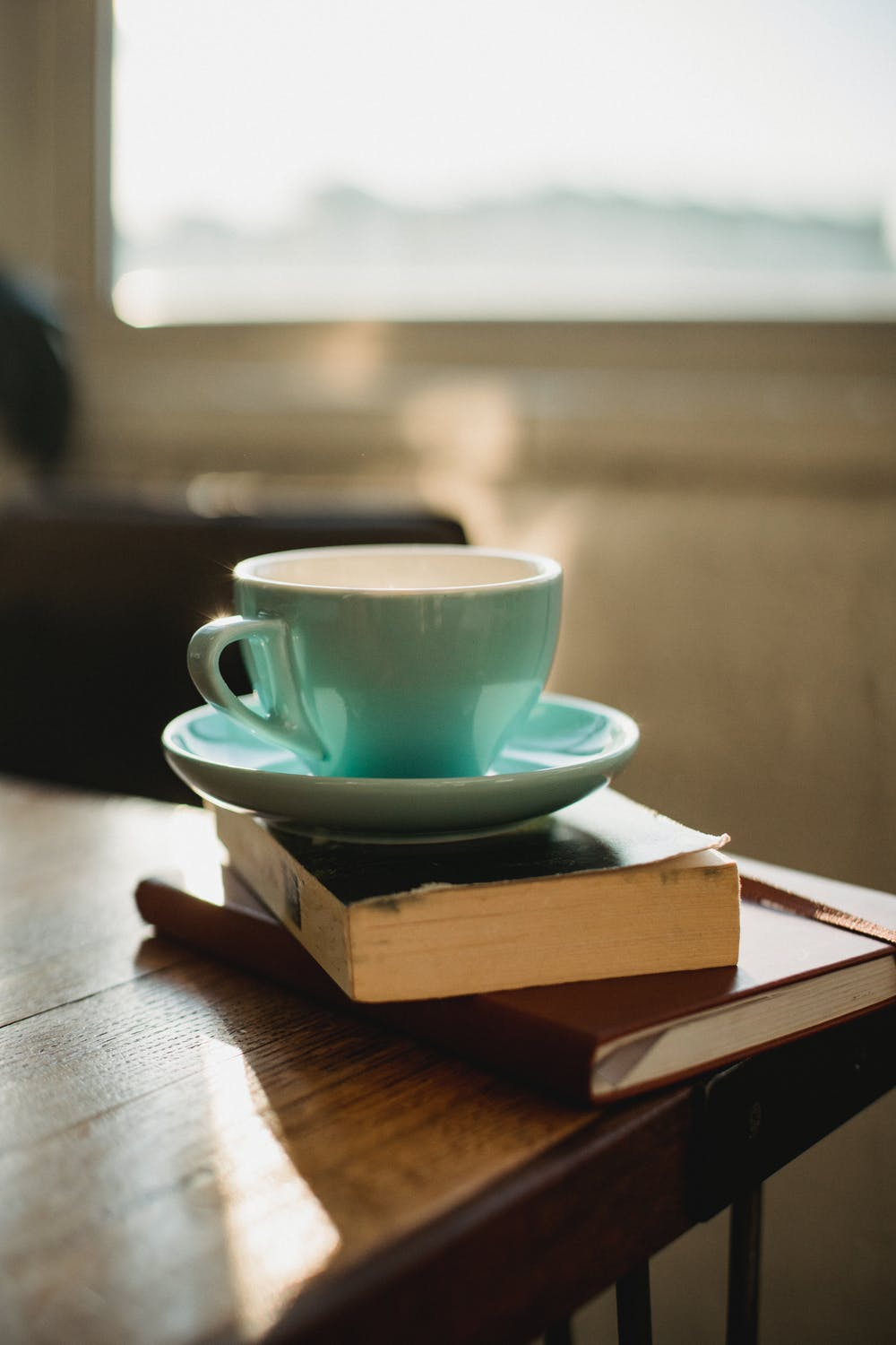A coffee cup on top of a stack of books.