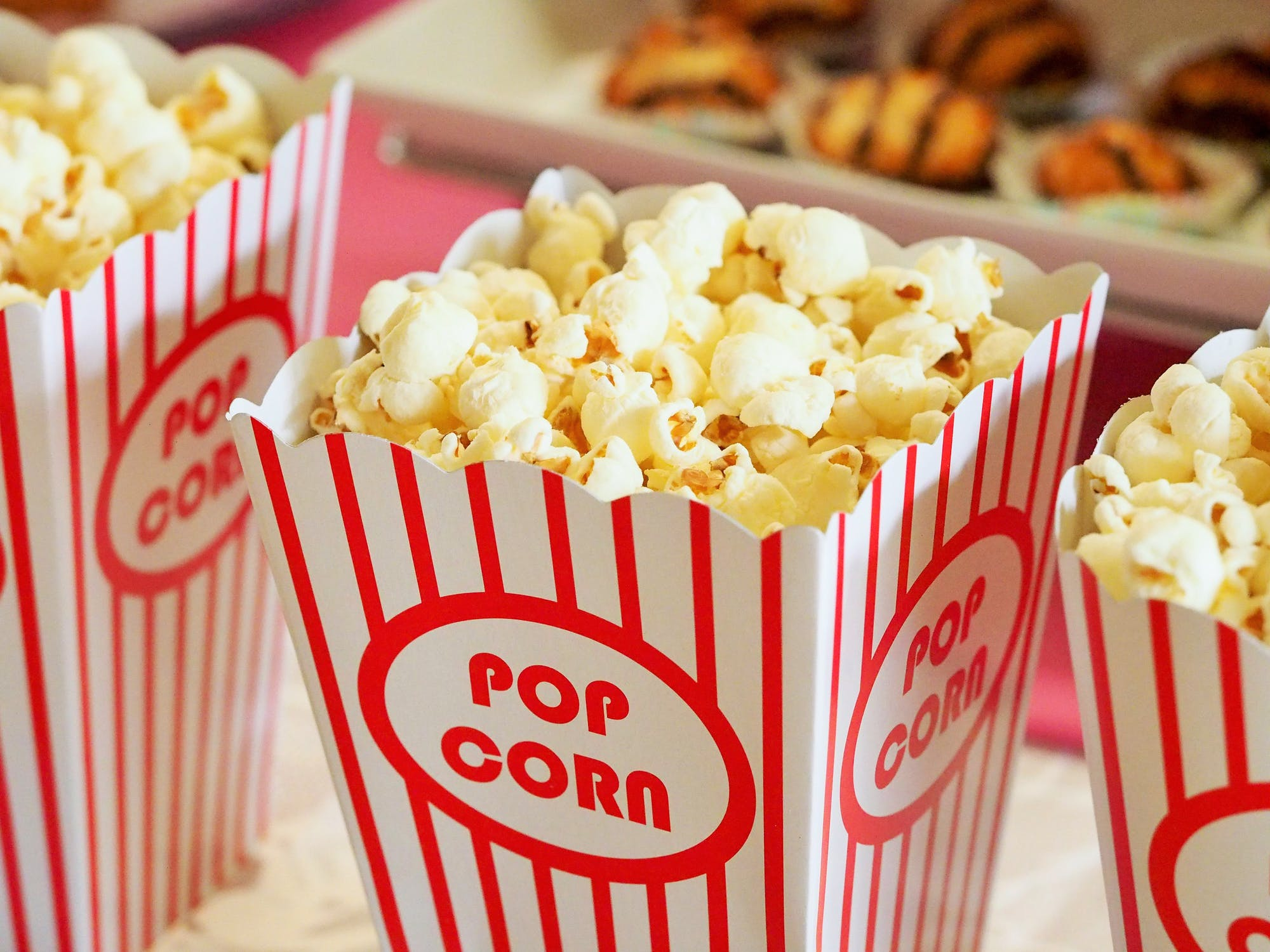 Photograph of movie theater popcorn boxes