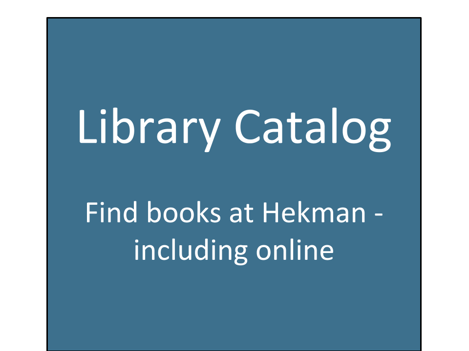 Library Catalog - find books at Hekman, including online
