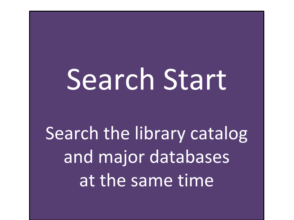 Use Search Start to search the library catalog and major databases at the same time