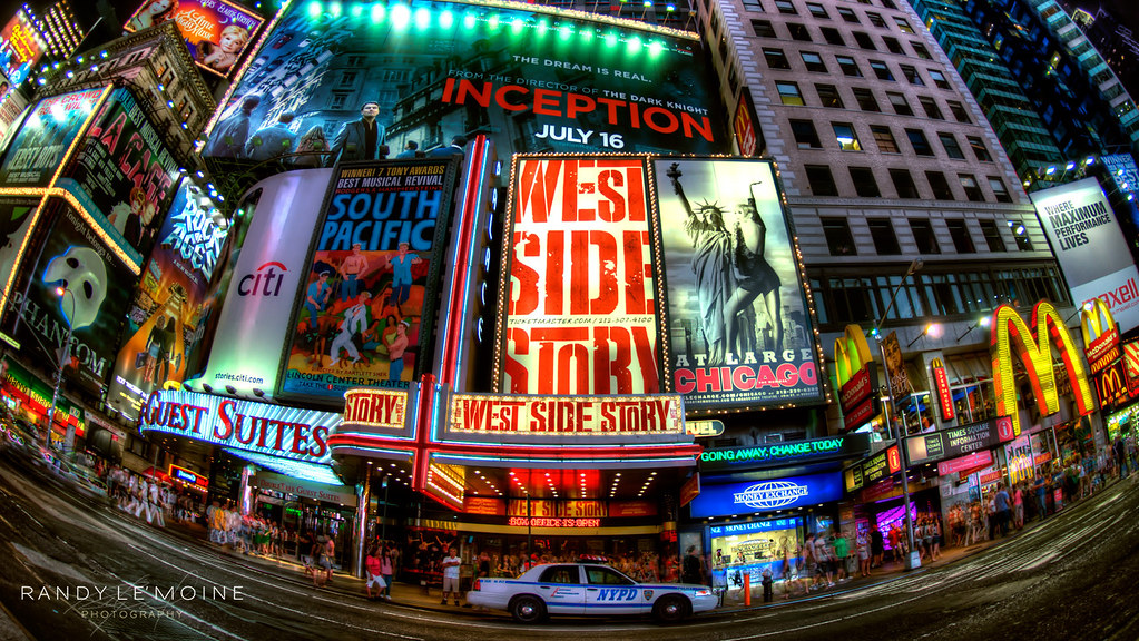 Fisheye view of NYC theatres