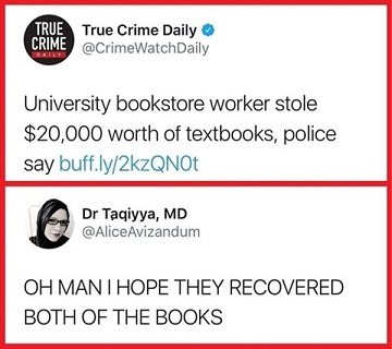 Funny tweet about textbook costs