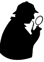 Shjerlock Holmes with magnifying glass