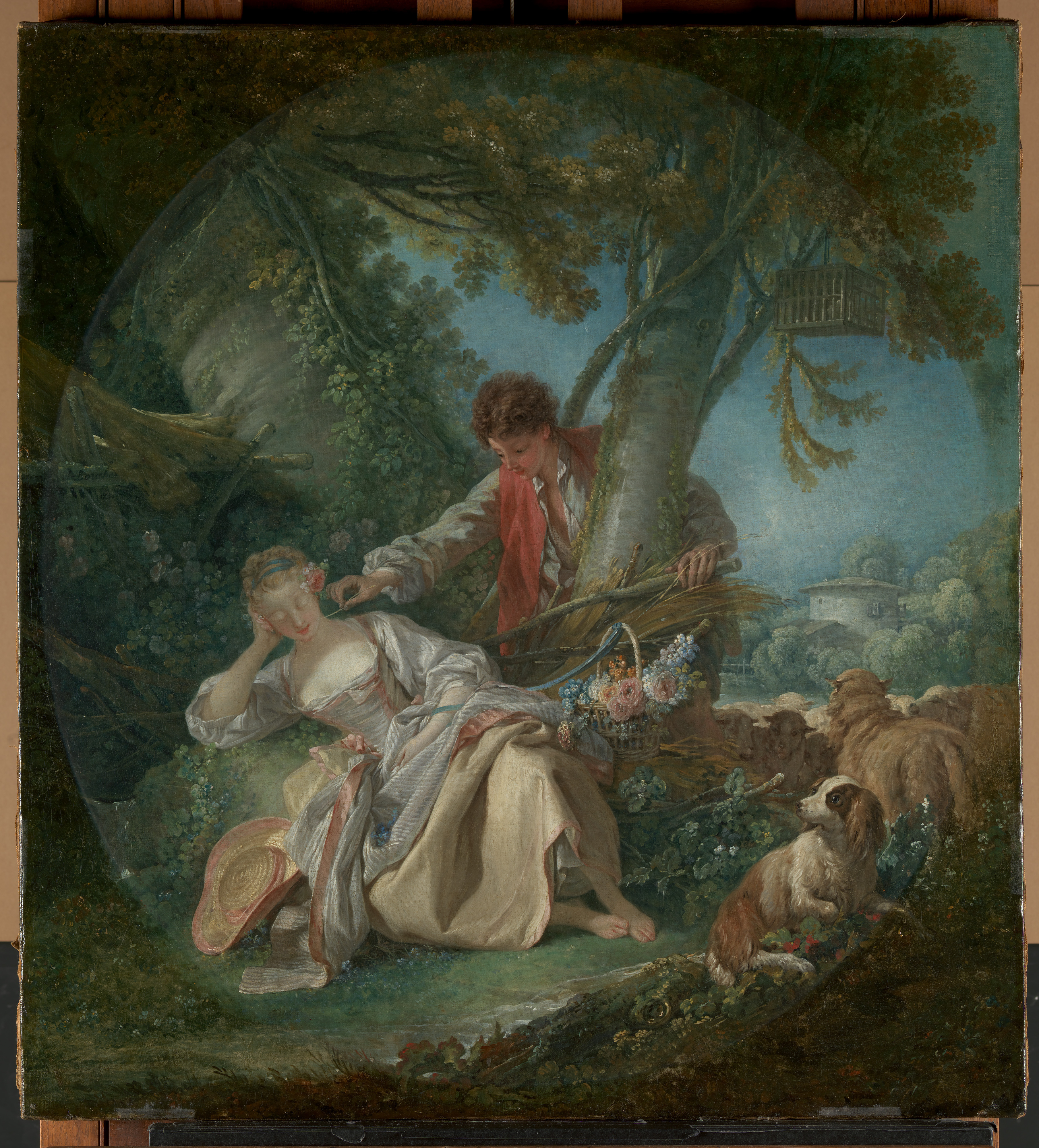 a peasant man touches a sleeping woman's face with a stalk of