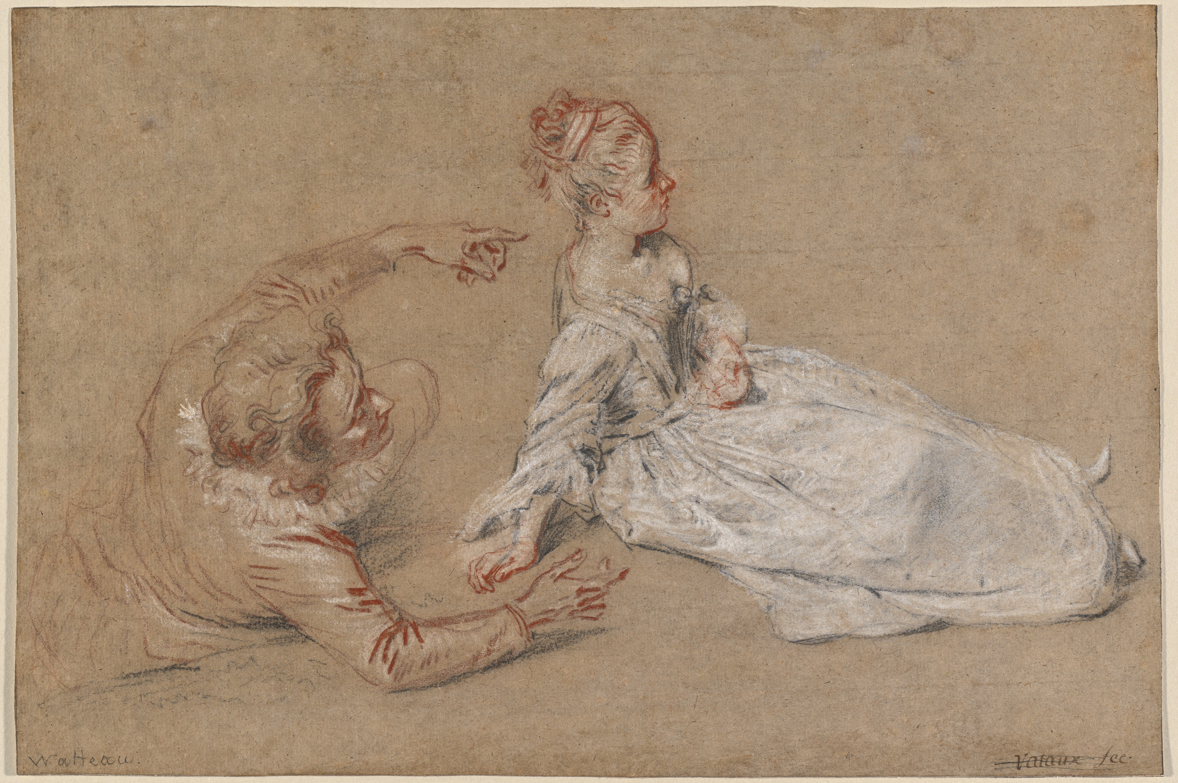 A Man Reclines and reaches out to a Woman Seated on the Ground, in red, black, and white chalk on brown laid paper