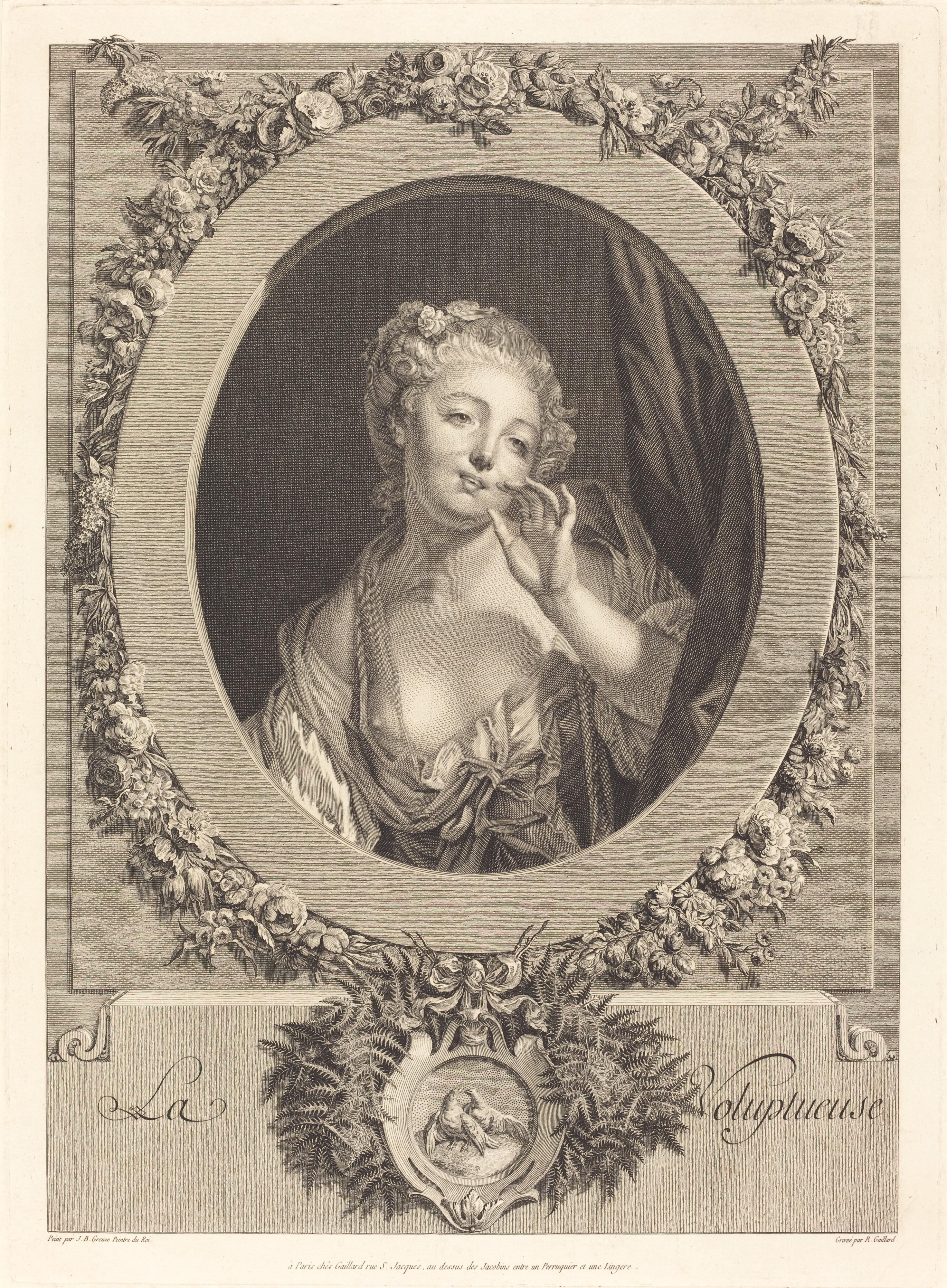 a woman holds a finger to her lips as she gazes out a flower-bedecked oval frame, loose clothing slipping from her shoulder