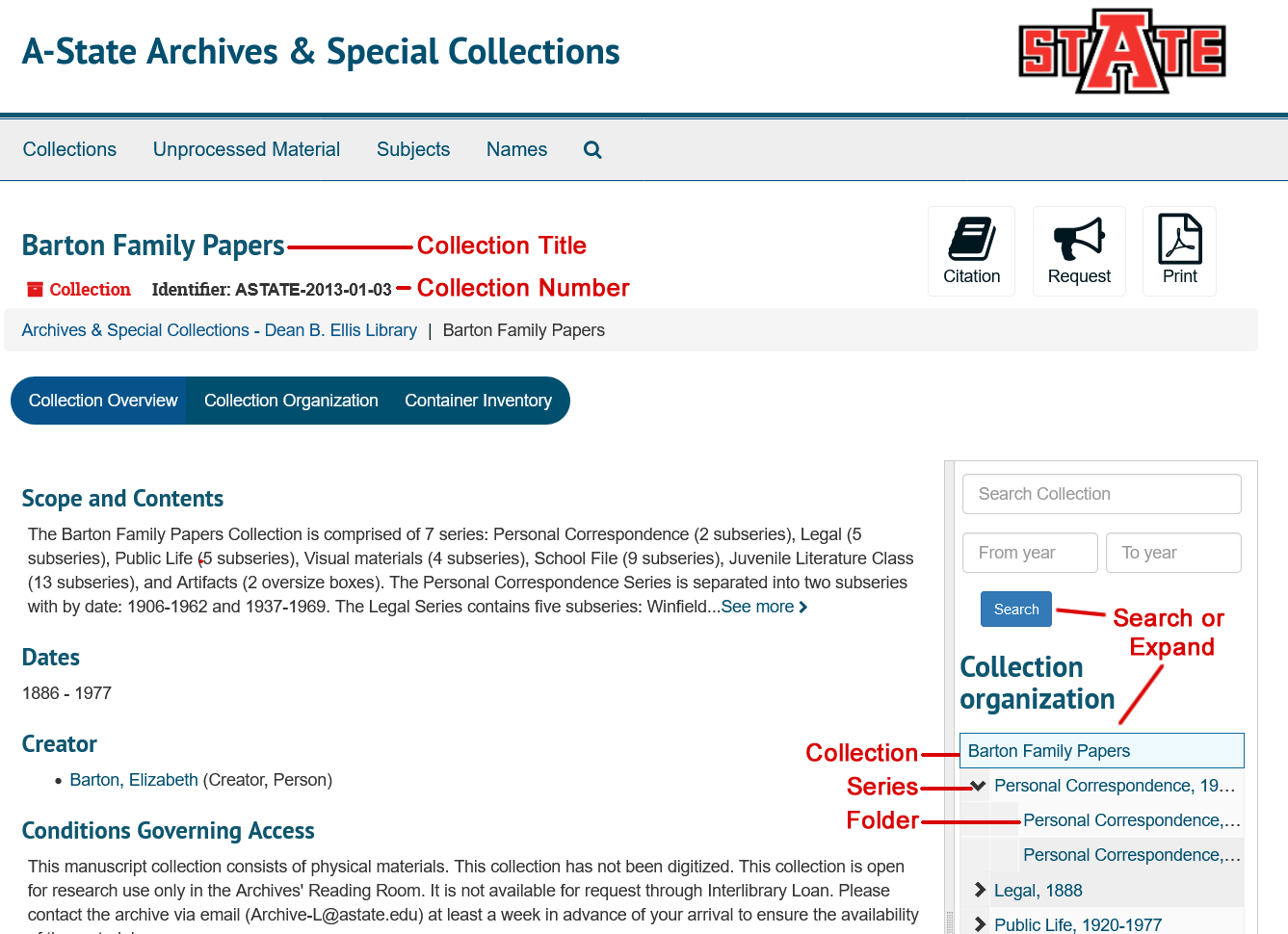 ArchivesSpace Collection Record Screenshot