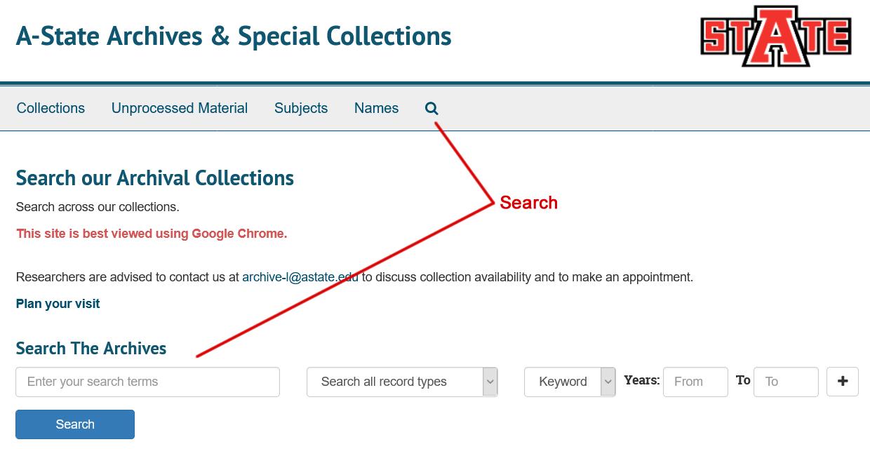 ArchivesSpace Search Screenshot