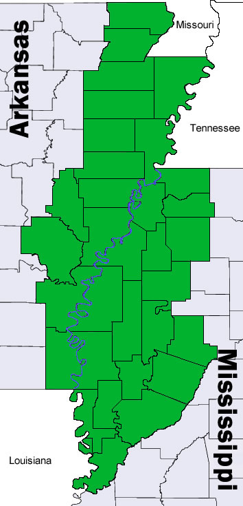 Map of the Delta Counties of Arkansas and Missouri
