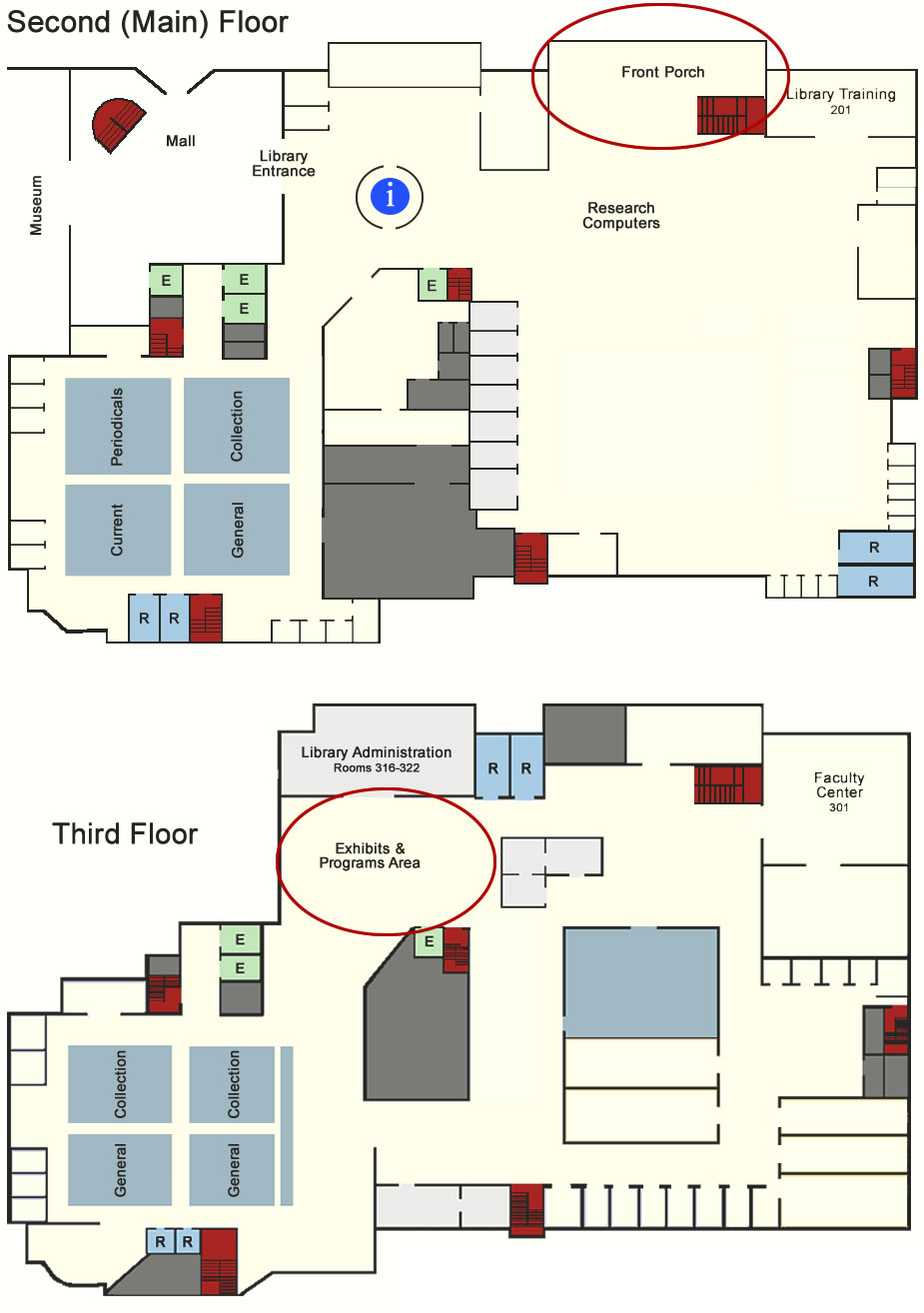 Library Floor Map - Main Exhibit Areas