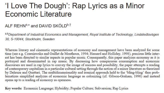 """I Love The Dough"": Rap Lyrics as a Minor Economic Literature"