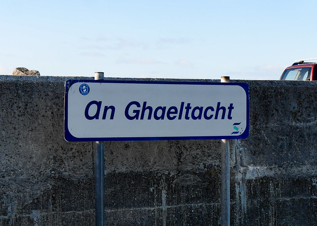 Photograph of a sign in the Irish language identifying an Irish-speaking region in Ireland.