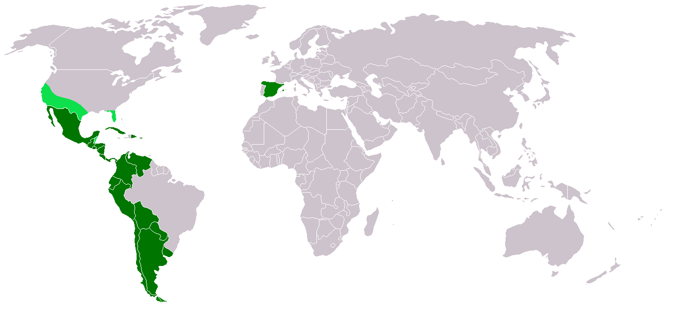 Map of Spanish-speaking regions in the world.