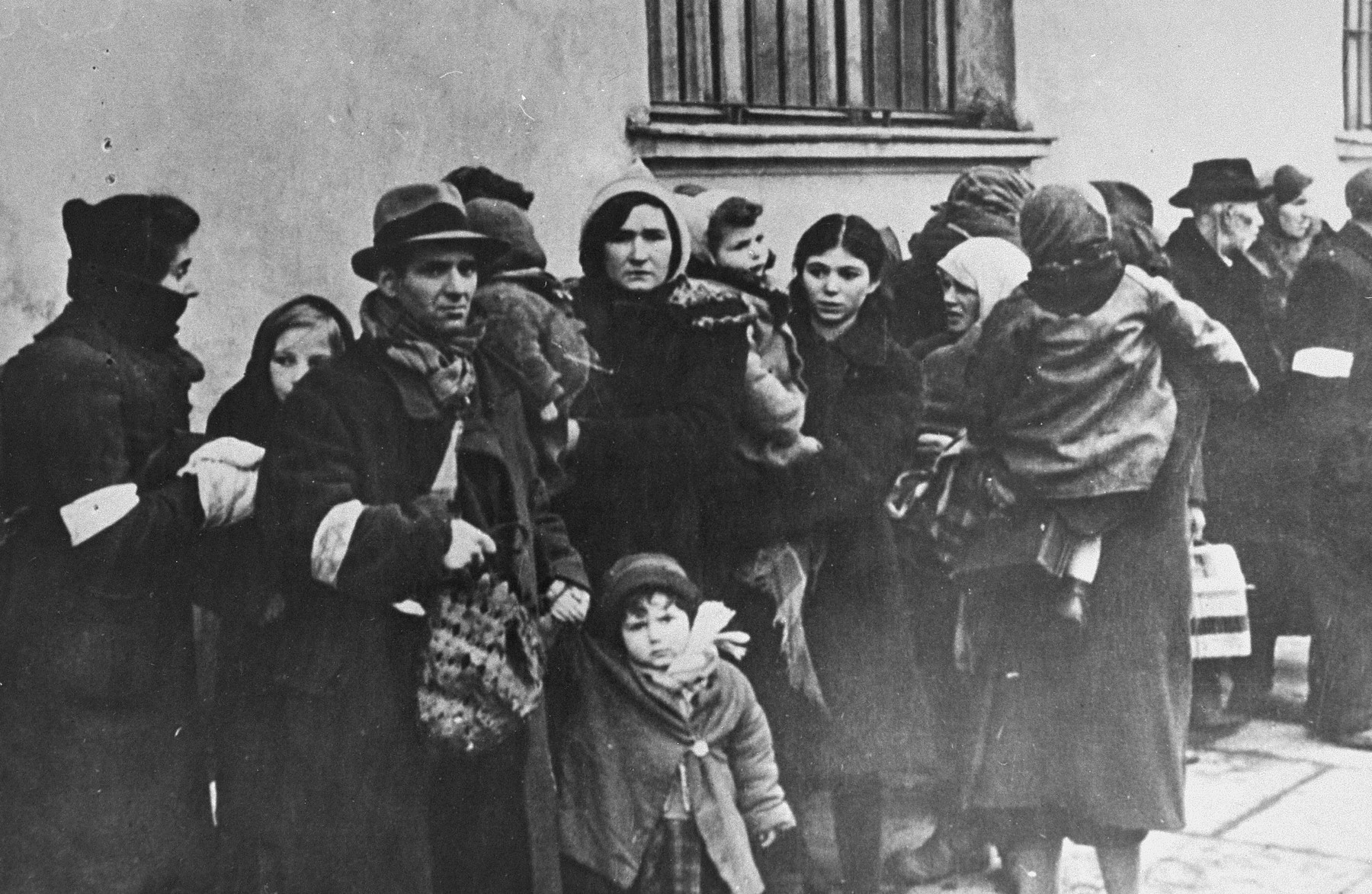 Photograph: Jews from the Krakow ghetto are assembled for deportation.