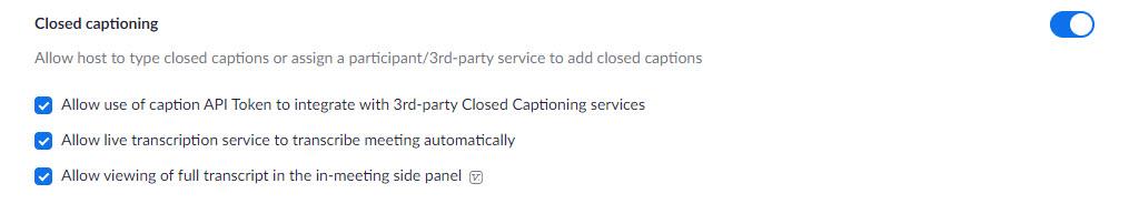 zoom settings closed captioning on