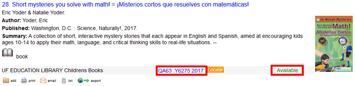 Example of a search result for a bilingual book. Highlighting the location of the call number and availability of the book.