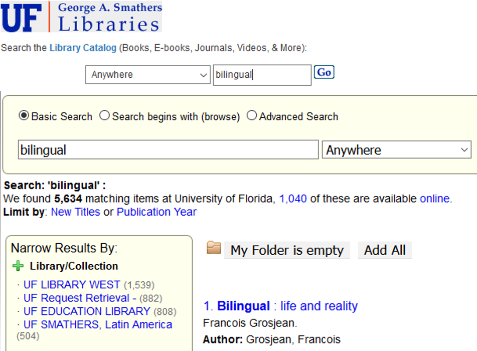 "Example of UF Catalog search box with word ""bilingual"" and the search results page. The UF search box is located below in the next box."